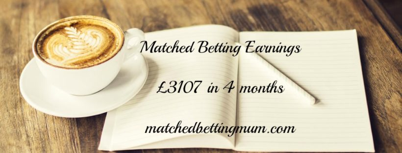 Diary showing matched betting mum's earnings of £3107 since starting matched betting 4 months ago with Profit Accumulator