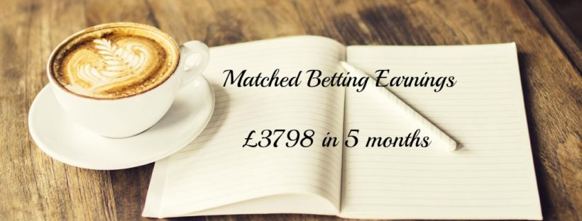 Coffee open notebook desk matched betting mum has earned £3798 in 5 months from matched betting with Profit Accumulator