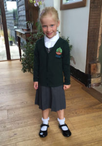 Picture of matched betting mum's eldest daughter on her first day at school