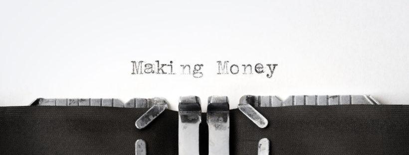 Typewriter with text saying making money online